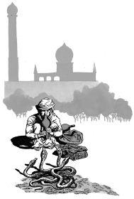 Ảnh đen trắng: Người chơi rắn ở Ấn Độ